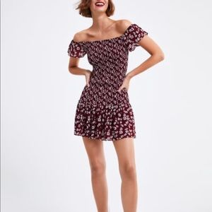 ZARA- Off the shoulder floral print dress